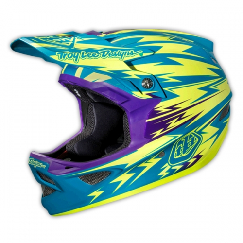 Troy-Lee-Downhill-Helm-D3-Thunder-türkis-gelb
